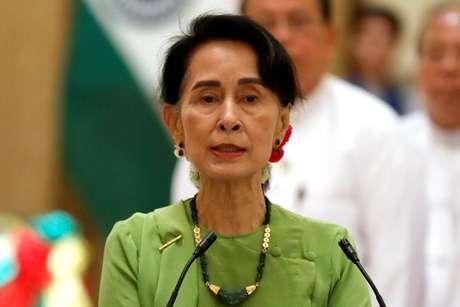 Líder de Mianmar, Aung San Suu Kyi, durante coletiva de imprensa, em Naypyitaw 06/09/2017 REUTERS/Soe Zeya Tun