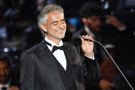 O tenor Andrea Bocelli em 25 de maio de 2016 durante apresentação na Itália.