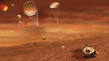 Ilustração artística do pouso da sonda Huygens Foto: ESA-C. Carreau