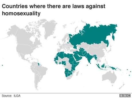 Mapa mostrando países onde há leis contra homossexuais