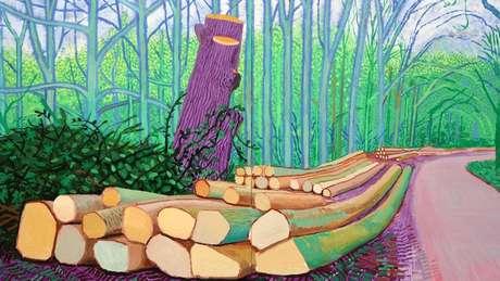 'Hockney faz as árvores brilharem com energia e cores inesperadas', diz a escritora Fiona Stafford, sobre Felled Trees (Árvores Caídas), de 2008 (Crédito: Alamy)