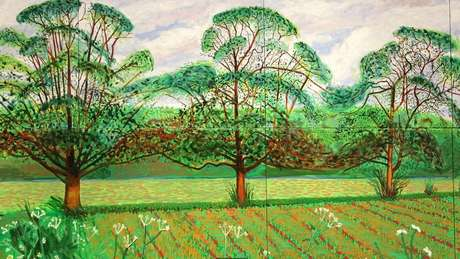 A floresta nativa de David Hockney em Yorkshire (Reino Unido) inspirou sua série de pinturas e desenhos para iPad, incluindo 'Três Árvores perto de Thixendale' de 2008 (Crédito: Alamy)