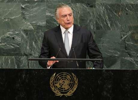 O presidente brasileiro Michel Temer fala na abertura da Assembleia Geral da Organização das Nações Unidas na sede da ONU em Nova York, EUA 19/09/2017 REUTERS/Lucas Jackson