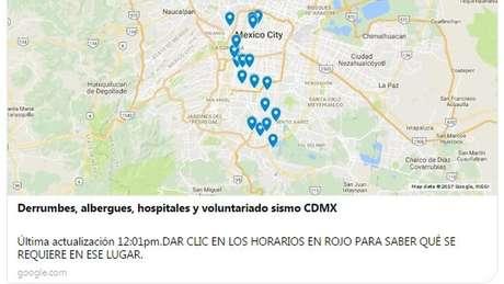 Mapas digitais apontam locais de abrigo e centros de ajuda na Cidade do México | Foto: Reprodução