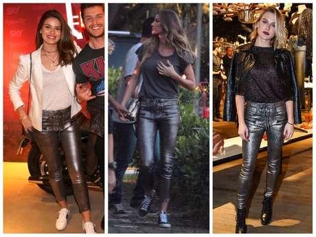 Camila Queiroz, Gisele Bündchen e Fiorella Mattheis com calça igual (Fotos: AgNews)