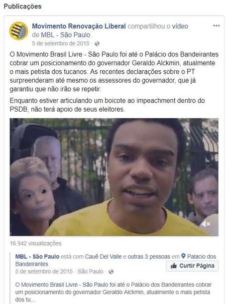 Reprodução de transmissão ao vivo na página do MRL no Facebook, com Fernando Holliday