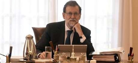 O primeiro-ministro espanhol, Mariano Rajoy, em reunião no palácio La Moncloa, em Madrid