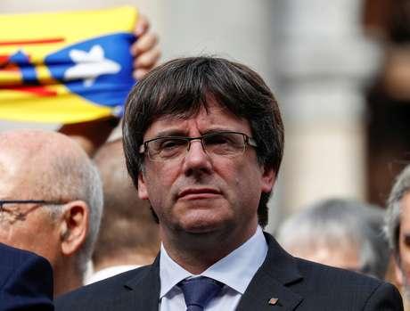 Líder catalão Carles Puigdemont participa de protestos em Barcelona, Espanha