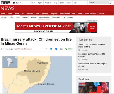 BBC dá destaque ao incêndio em creche de MG