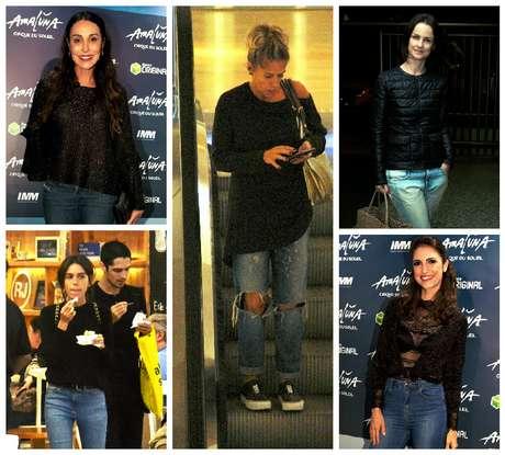 Famosas de jeans e blusa preta