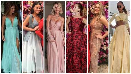 Famosas e seus vestidos no casamento de Marina Ruy Barbosa (Fotos: AgNews/Reprodução/Instagram)