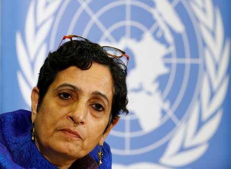 Diretora do escritório de direitos humanos da ONU para a região da Ásia-Pacífico, Jyoti Sanghera, durante coletiva de imprensa, em Genebra 11/10/2017 REUTERS/Denis Balibouse