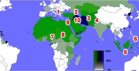 Áreas de atrito e de guerra do Islã