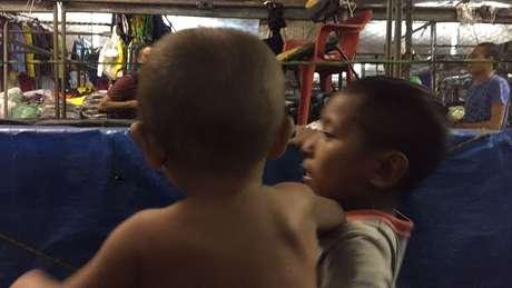 Algumas das crianças em Belém estavam desnutridas por conta da falta de alimentação