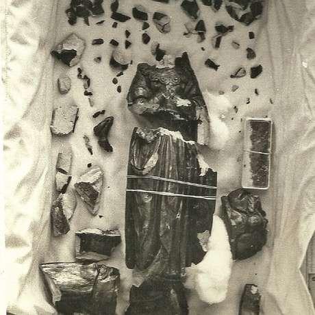 Em 1978, estátua caiu no chão após tentativa de roubo e foi quebrada em vários pedaços | Foto Arquivo pessoal