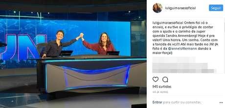 """Ana Luiza durante ensaio com Sandra Annenberg: """"uma honra"""" apresentar o 'JN'"""