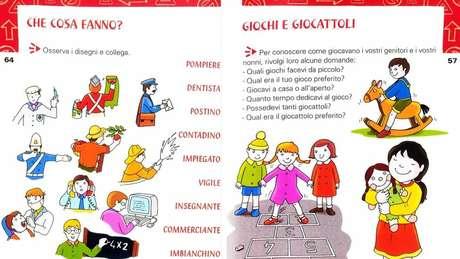 Livro didático mostrando profissões na Itália