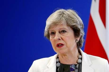 Theresa May em cúpula da União Europeia em Bruxelas  20/10/2017    REUTERS/Francois Lenoir