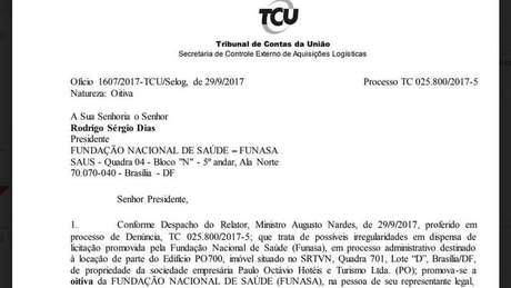 TCU apura contrato de locação para sede da Funasa, em Brasília