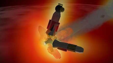 Simulações de computador ilustram a descida da Mir em 2001