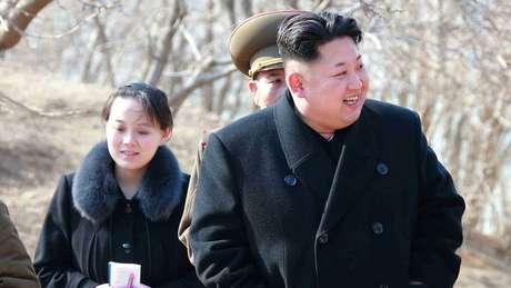 Kim Jong-un e a irmã Kim Yo-jong