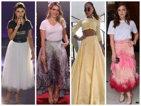 Looks das famosas com camiseta e saia de festa (Fotos: AgNews - Instagram/Reprodução)