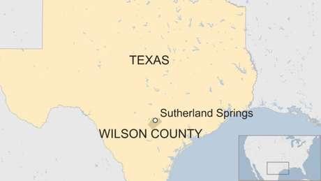 Mapa do Texas mostrando a localização da cidade de Sutherland