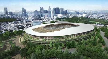 O novo estádio olímpico de Tóquio, que receberá as cerimônias de abertura e encerramento, as competições do atletismo e as finais do futebol (Crédito: Divulgação)