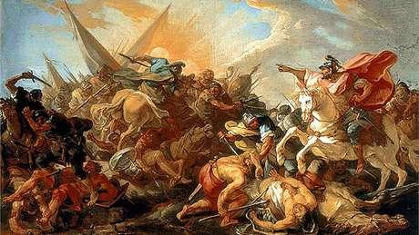 Em pintura de Joseph Marie Vien, Josué ordena que o Sol fique parado