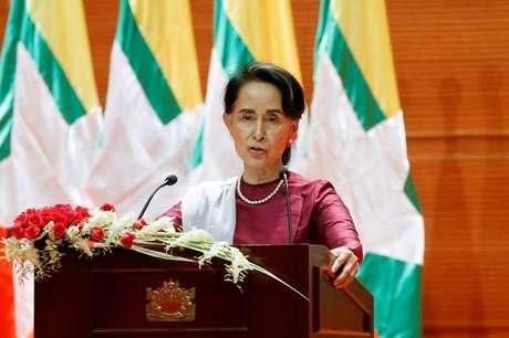 Líder de Mianmar, Aung San Suu Kyi, durante discurso em Naypyidaw 19/09/2017 REUTERS/Soe Zeya Tun