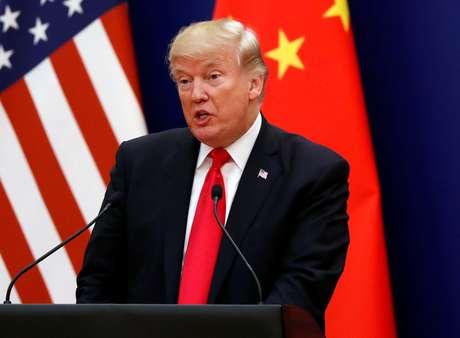 Presidente dos Estados Unidos, Donald Trump, durante reunião com líderes comerciais em Pequim, na China 09/11/2017 REUTERS/Jonathan Ernst