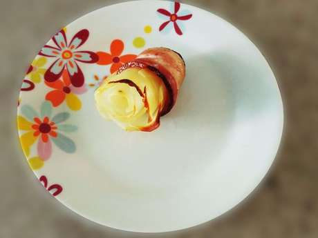 Flor de batata e bacon