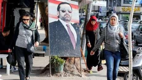Foto de Saad Hariri em Beirute: sua renúncia, ainda não esclarecida, levou apreensão a toda a região