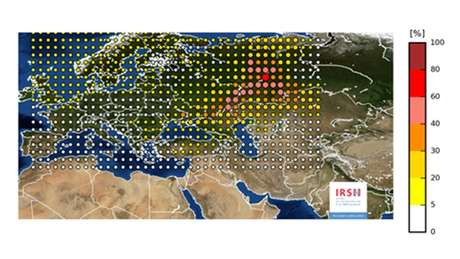 Mapa mostra nuvem radioativa sobre o continente europeu