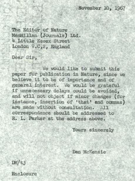 Pedido de publicação de artigo na Nature em 1967