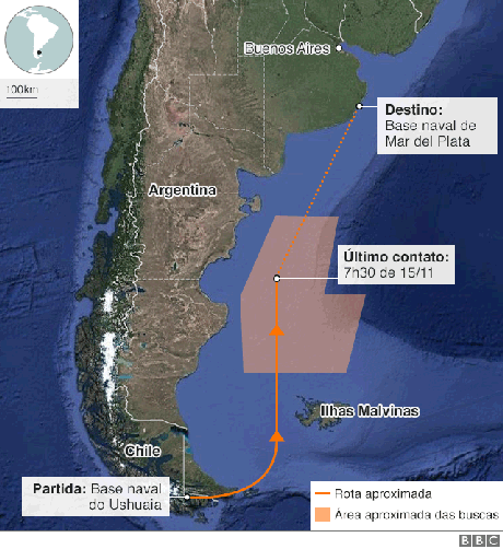 Mapa com a rota do submarino argentino