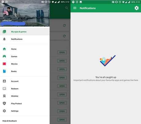 """Nova seção """"Notificações"""" na loja Google Play (Imagem: AndroidPolice)"""