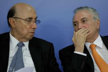 O ministro Henrique Meirelles e o presidente Michel Temer.