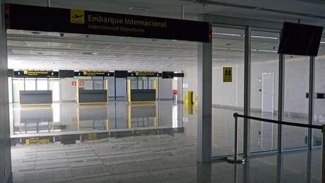 Áreas de embarque e desembarque internacional nunca foram usadas | Foto: Amanda Rossi/BBC Brasil