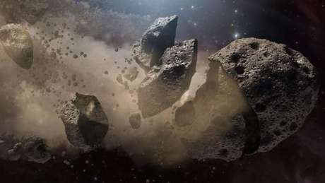 O asteroide pode estar se desfazendo, o que explicaria o fato de ele dar origem às chuvas de meteoros | imagem artística: Nasa - JPL-Caltech