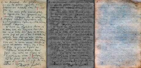 Página do manuscrito processada com filtro vermelho, verde e azul (da esq. para dir.) | Foto: Ifz-muenchen.de