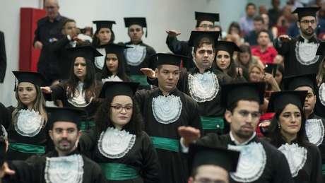 Colação de grau de formandos no Ceará: Brasil tem hoje 291 universidades de Medicina | Foto: UFC