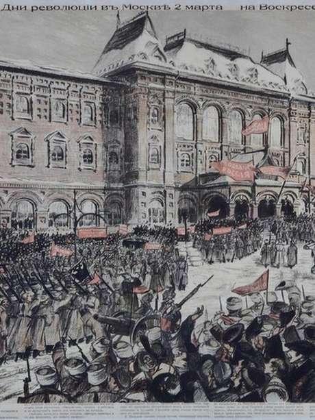 Poster revolucionário que retrata manifestações na Praça Voskresenskaya de Moscou