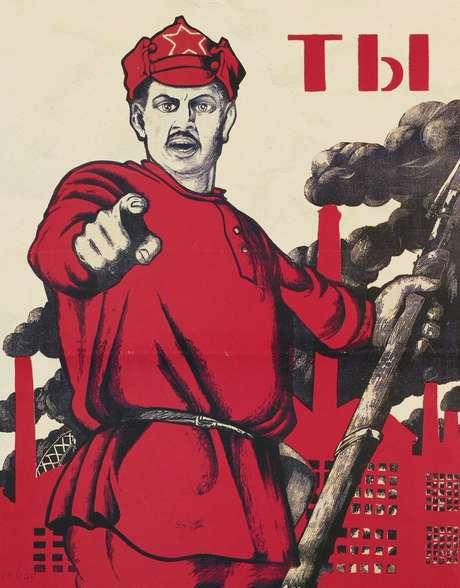 Cartaz bolchevique exaltando o soldado vermelho