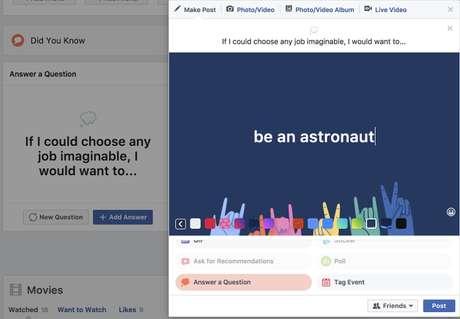 Novo recurso do Facebook vai te incentivar a falar mais sobre você