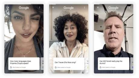 Exemplos de resultados para perguntas a celebridades no piloto do Google