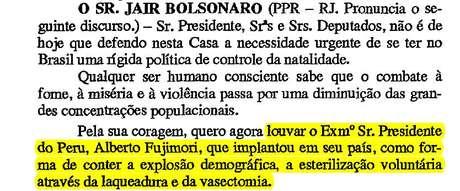 Trecho das notas taquigráficas de Bolsonaro | imagem: Câmara dos Deputados / reprodução