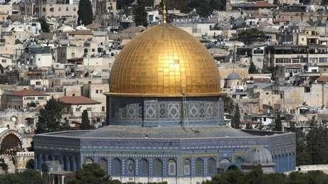 Vista do Monte do Templo, ou Haram al-Sharif, em Jerusalém, local sagrado para judeus e muçulmanos