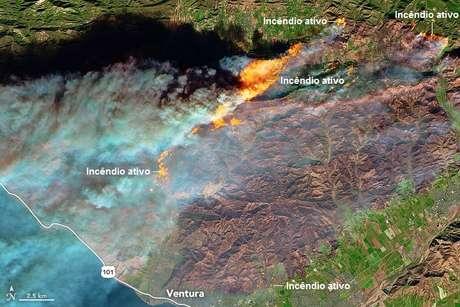 Califórnia emitiu o alerta roxo, o nível mais elevado de sua história | Imagem: Nasa