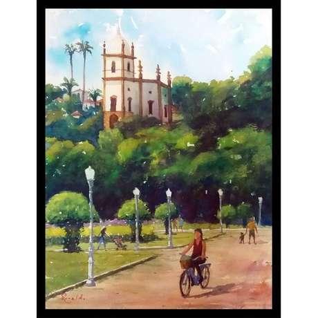 Quadro que Serafim começou a pintar com a reportagem da BBC Brasil